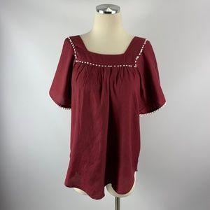 RETHM Small Blouse Boho Crimson Rayon Poms